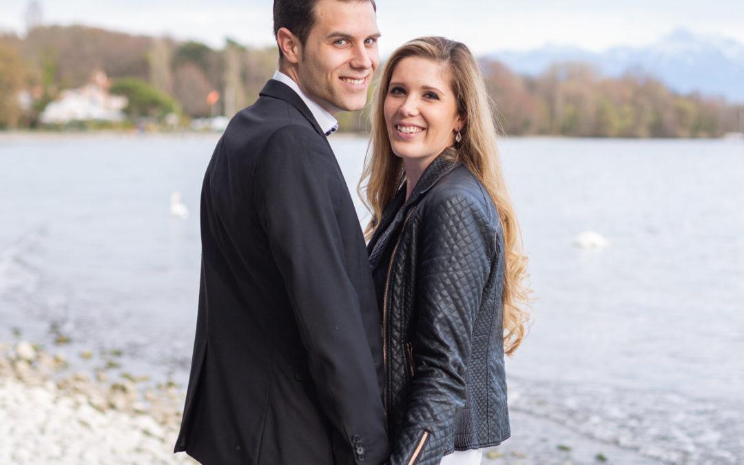 Séance Engagement Pré Mariage au bord du Lac Léman